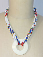 MONET Red White Blue Gold Bead Beaded Pendant Necklace Vintage