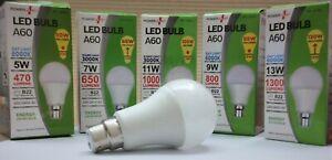 5w 7w 9w 11w 13w Watt LED B22 BC Bayonet Warm White / Daylight GLS Light Bulbs