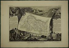 1856 MAP FRANCE DEPARTMENT ~ DES BES DU RHONE AIX ARLES MARSEILLE