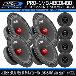"4x DS18 PRO-GM8.4B 8"" Midrange Car Speaker 4x PRO-TWX1BK Super Bullet Tweeter"
