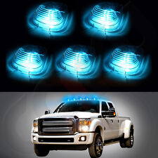 5X Mini Clear Lens+5X T10 Ice Blue 5050 LED Roof Maker Lights For Truck SUV 4x4