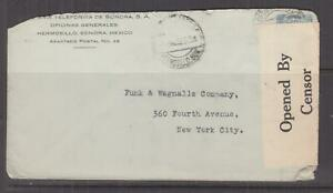 MEXICO. 1918 Censored cover, 10c., Hermosillo to USA.