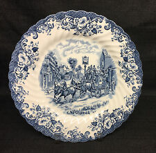 "Johnson Bros Coaching Scenes-Blue- 9 7/8"" Dinner Plate- England"