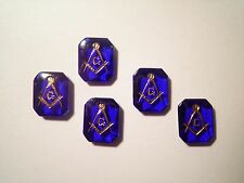 3 Vintage West Germany Sapphire Blue Masonic Stones