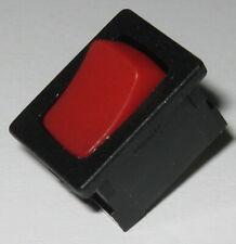 Defond Mini Black Switch with Red Rocker - SPST - 125V 15A - 250V 7.5A  .5 x .75