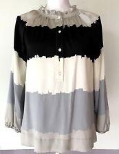 BCBG Max Azria Ombre Silk Blouse Size XS Womens Black/Gray Smocked Neckline