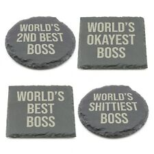 Worlds Best Boss Slate Coaster Personalised Novelty Laser Engraved Coffee Gift