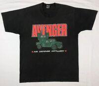 Vtg 80s/90s Avenger Air Defense Us Army Marines Mens Black S/S T-Shirt Sz L A7