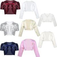 Girls Bolero Shrug Short Cardigan Jacket Kids Flower Girl Wedding Dress Cover Up