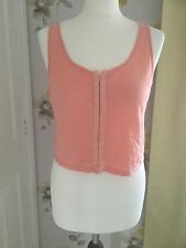 TOPSHOP PEACH / CORAL HOOK & EYE FRONT CROPPED VEST TOP – UK 10