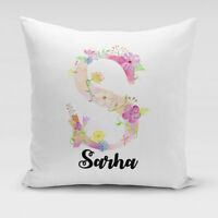 Personalised Pink Floral Alphabet Soft Cushion Cover Any Initial Add Name Letter