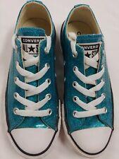 Converse All Star Glitter Teal Low Top Girls Shoes Sz 13 Chuck New - Never Worn