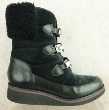 Cole Haan Black Leather Mid Calf Faux Fur Cuff Clamp Buckle Boots Women's sz 7 B