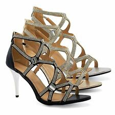 Womens Diamante High Heel Evening Sandals Ladies Bridal Strappy Prom Shoes Size