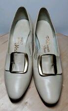 "Womens Vintage Ted Weaver Edwardian Buckled 2.5"" Heels Cream 5.5 B Aa"