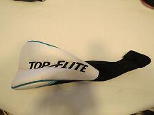 Top Flite Aero Driver golf club head cover white black aqua NOS