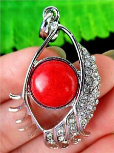 46x27x7mm Alloy Inlay Red Turquoise Eye Pendant Bead BT91503