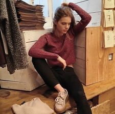 brandy melville speckled burgundy crew neck pull-over Gracie sweater NWT S