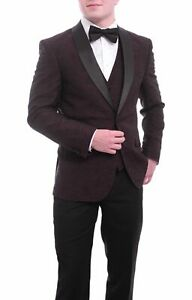 Lorenzo Bruno Slim Fit Burgundy Floral One Button Vested Stretch Tuxedo Suit