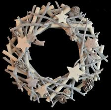 32cm Round Christmas Wreath Wooden Glitter Stars Wall Door Hanging Decor Festive