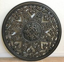"""28"""" Round Wood Carving Wall Panel Mural Decor Art Statue Made in India"""