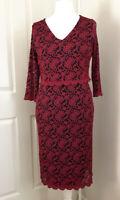 Per Una M&S Dress Size UK 16 Black Red Lace Lined Scallop Trim Bodycon Occasion