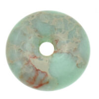 Round Donut Shoushan Stone Pendant 40mm Charm Bead Jewelry Necklace Accessories