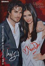 NINA DOBREV & IAN SOMERHALDER - Autogrammkarte - Autograph Autogramm Clippings