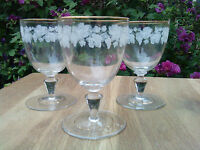 "3 x Pretty Crystal ""Grape & Vine"" Pattern wine Glasses"