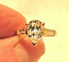 14K YELLOW GOLD ENGAGEMENT RING 1 1/2 CARAT PEAR CZ WITH 2 BAGUETTES  SIZE 6.75