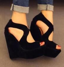Ladies Suede Wedge High Heel Sandals Peep Toe Hollow Out Black Platform Shoes sz