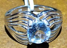 Sky Blue Topaz Ring in Platinum Bond Brass Size 7
