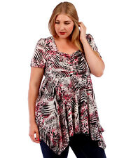 NEW! WOMEN'S PLUS SIZE CLOTHING PINK & BLACK ANIMAL PRINT BABYDOLL BLOUSE 4X