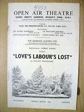 Open Air Theatre Programme 1953- LOVE'S LABOUR'S LOST~ William Shakespeare