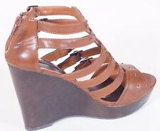 Material Girl Toro Womens Brown Open Toe Platform Wedges Sandals Shoes 9.5 M
