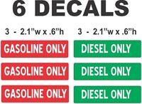 6 Gasoline / Diesel Only Die Cut Vinyl Decals - Peel & Stick