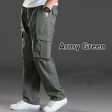 Man Over Size Trouser Multi Pocket Casual Cargo Pants Slim Elastic Waist Loose