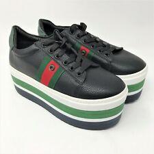 Seniorah Women's 70's Look Oxford Platforms size 39 Black Green White Red Shoes