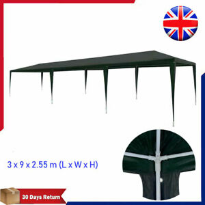 Large PE Party Tent 3x9m Green Outdoor Patio Gazebo Marquee Canopy Sun Shade