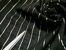 *NEW*Black/Silver Striped Woven Silk / Cotton Blend Dress/Craft Fabric*FREE P&P*