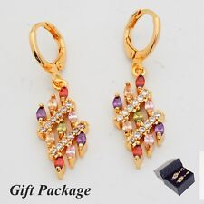 Gift Box Package Noble Colorful Cubic Zircon Gold Plated Lady Link Drop Earrings