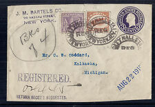 1919 US WW1 Victory Stationary Cover, Registered from Nassau St NY w/ 537 & C1*