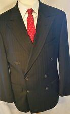 Ralph Lauren Men's Jacket Navy Pinstripe Wool Cashmere Size 42R Dbl Breasted