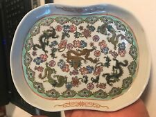 Vintage Chinese Five Dragons Porcelain Tray Decorated With Flowers