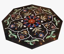 "24"" Marble Table Top  semi precious stones inlaid art work home decor"