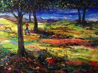 Original Arthur Robins CALIFORNIA LANDSCAPE Oil Painting Hiking with Dog Summer