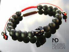 Men Onyx/Red Macrame Skull Bracelet with Swarovski Crystal Elasticated Halloween