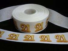 Cinta De Cumpleaños Pastel Decoración Pastel Artesanía - 50mm-edad 21 Twenty One - 1m
