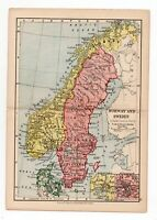 Antique Map Of Norway & Sweden W&AK Johnston 1897