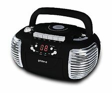 Groov-e GVPS813BK Retro Boombox Portable CD Cassette Radio Player in Black